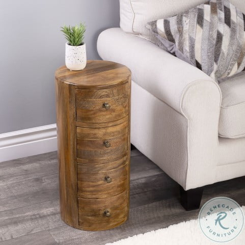 Liam Light Brown Wood Storage End Table