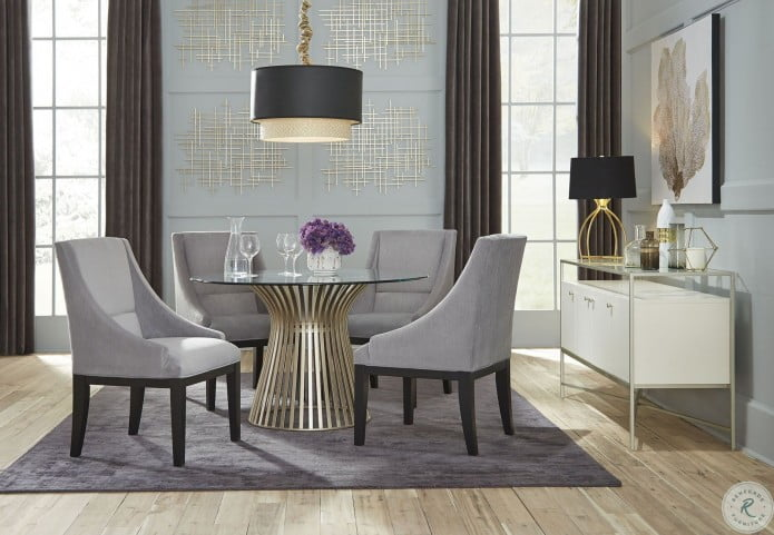 Mix and Match Gold Glass Round Dining Room Set