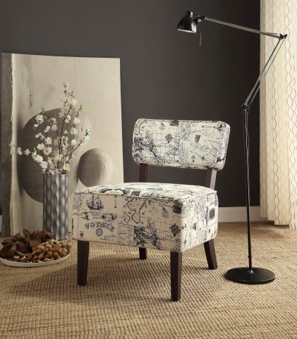 Orson White and gray Accent Chair