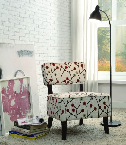 Orson Red and White Accent Chair