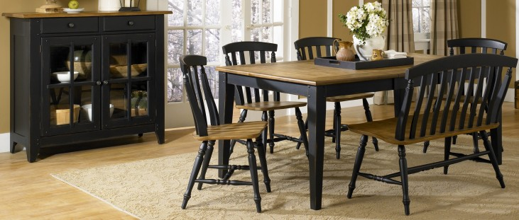Al Fresco Black Rectangular Leg Extendable Dining Room Set