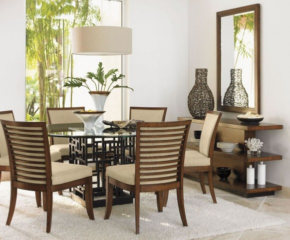 "Ocean Club 54"" South Seas Round Glass Dining Room Set"