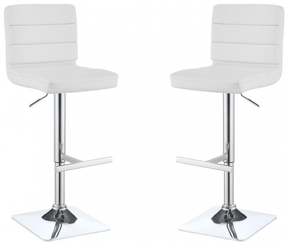 120694 White Adjustable Bar Stool Set of 2