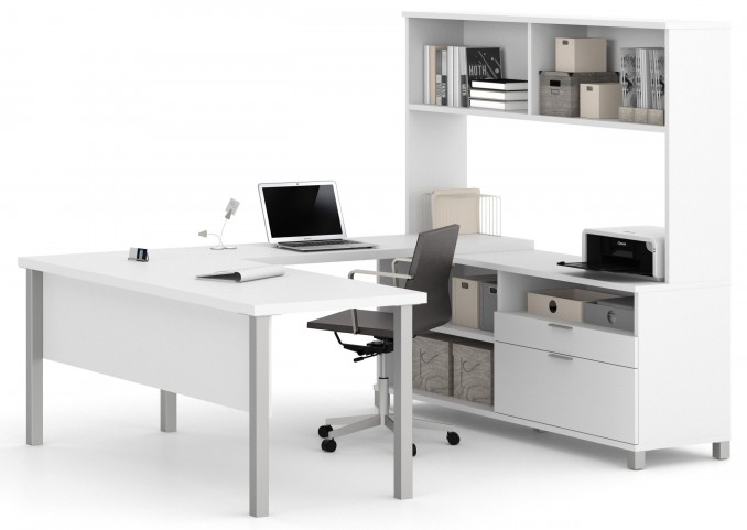 Pro-Linea White U-Desk With Hutch