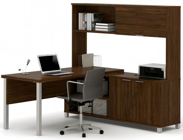 Pro-Linea Oak Barrel Door L-Desk With Hutch