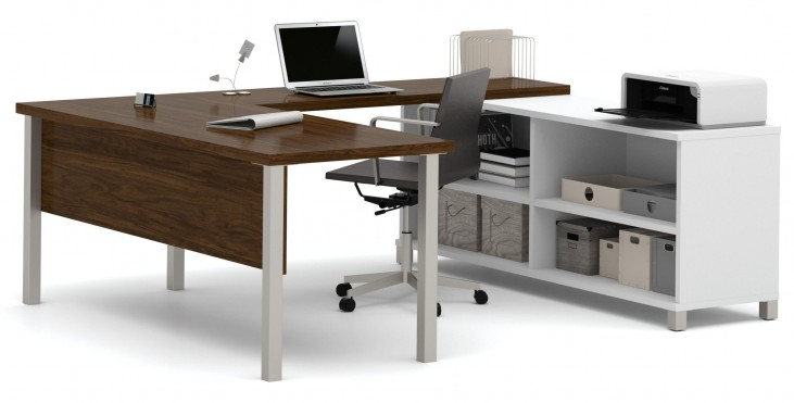 Pro-Linea White & Oak Barrel U-Desk