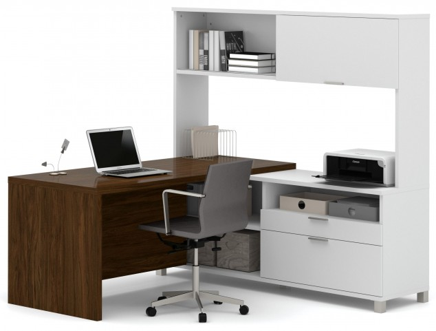 Pro-Linea White & Oak Barrel Drawer L-Desk With Hutch