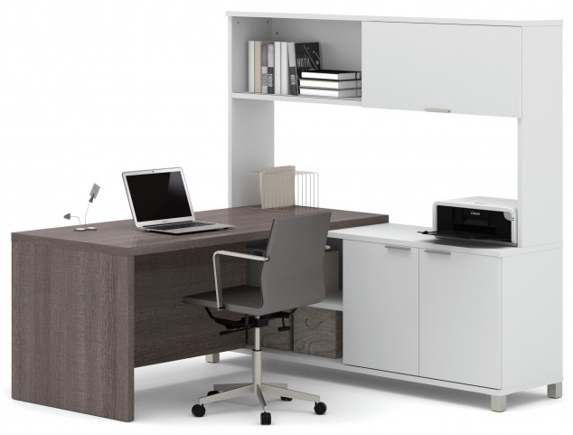 Pro-Linea White & Bark Grey Door L-Desk With Hutch