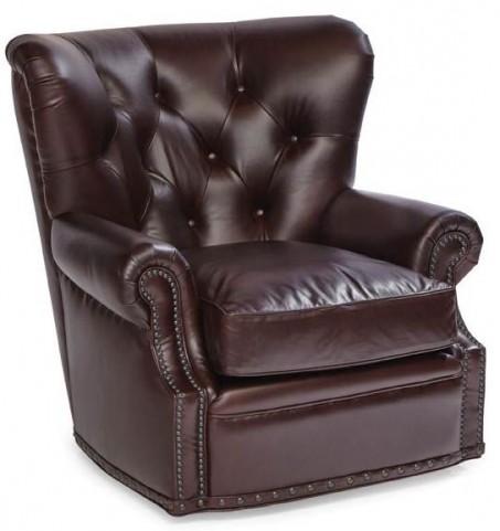 Baron Gunner Coffee Swivel Leather Chair