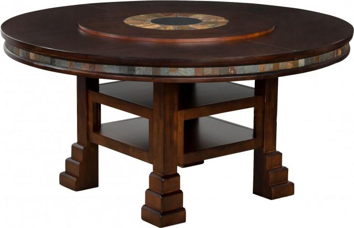 Adjustable Height Round Table.Santa Fe Dark Chocolate Round Adjustable Height Dining Table