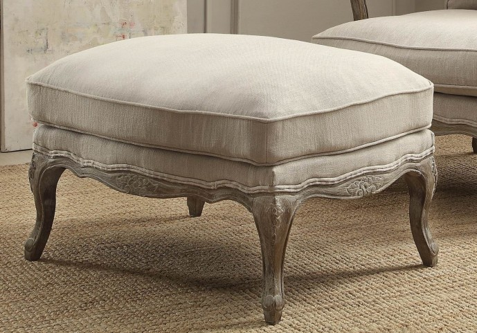 Parlier Grey Weathered Show-Wood Ottoman