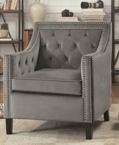 Grazioso Gray Velvet Accent Chair From Homelegance Coleman Furniture