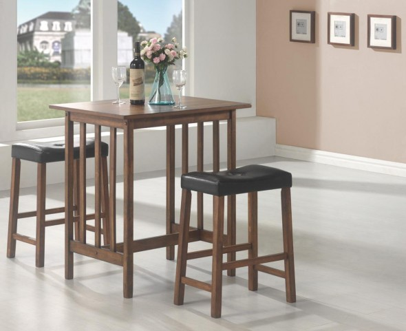 Black 3 Pcs Counter Height Dining & Dinette Set 130004