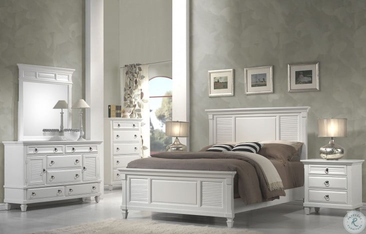 Winchester White Shutter Queen Panel Bed