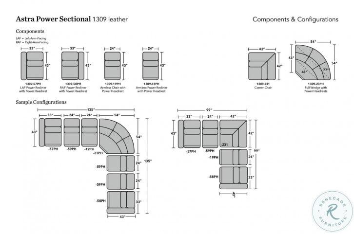 Astra Cream Modular Power Reclining Sectional with Power Headrest