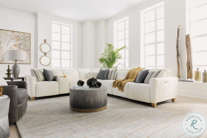 Astra Cream Modular Power Reclining Large Sectional with Power Headrest