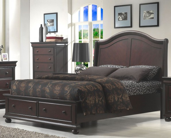 Hyde Park Seal Brown Queen Sleigh Storage Bed