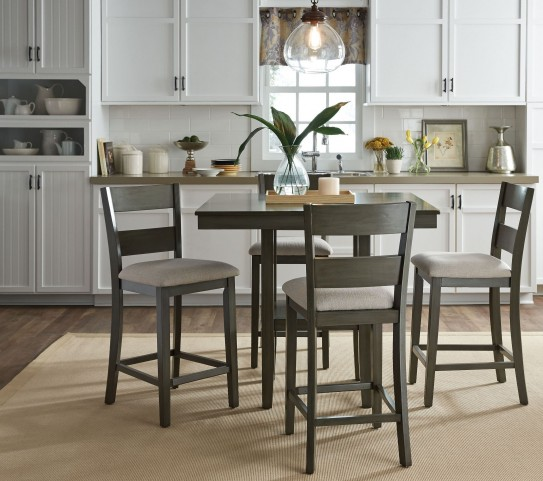Dining Room Set Furniture: Loft Weathered Grey 5 Piece Counter Height Dining Room Set