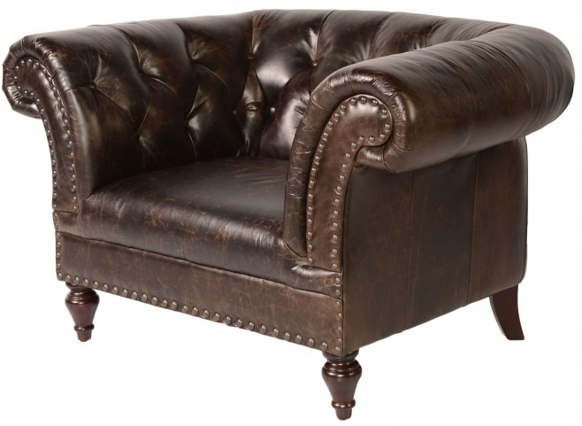Jaffna Brompton Chocolate Leather Chair
