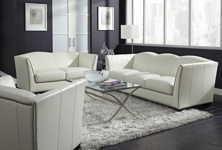Marilyn White Leather Living Room Set