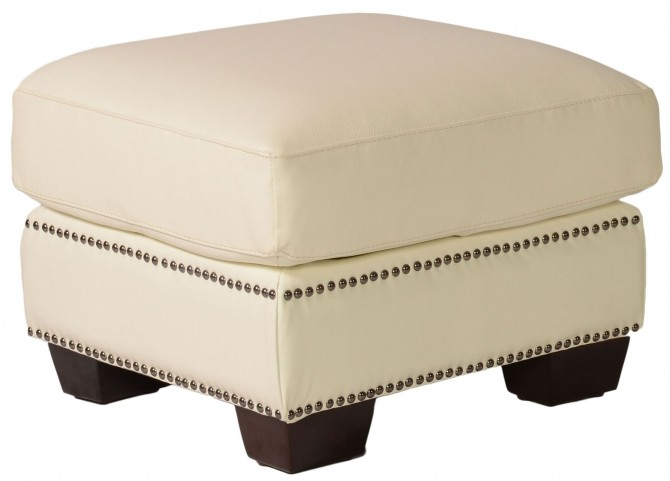 Marilyn White Leather Ottoman