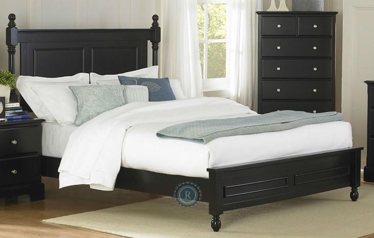 Morelle Black Queen Panel Bed