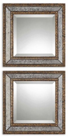 Norlina Squares Antique Mirror Set of 2