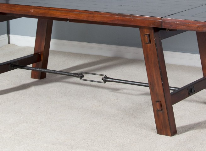 Vineyard Rustic Mahogany Extendable Rectangular Trestle Dining Table From Sunny  Designs | Coleman Furniture