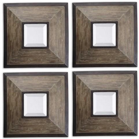 Fendrel Squares Wood Mirror Set of 4