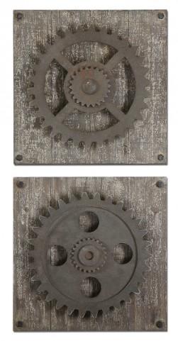 Rustic Gears Wall Art Set of 2