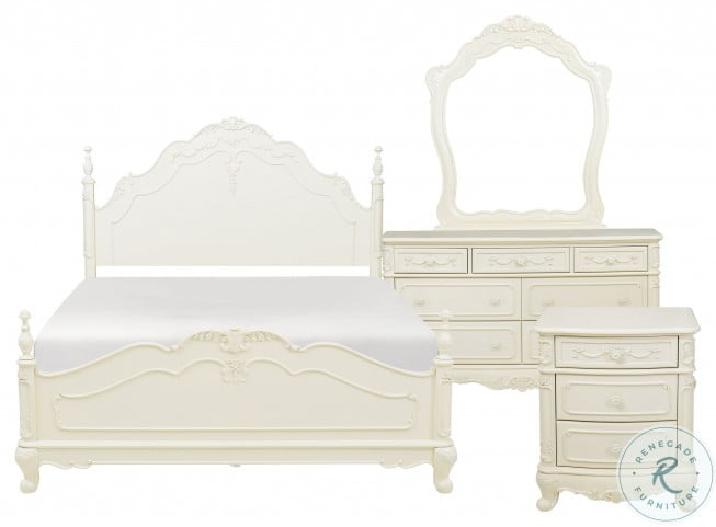 Cinderella Creamy White Poster Bedroom Set