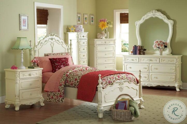 Cinderella Creamy White Youth Bedroom Set