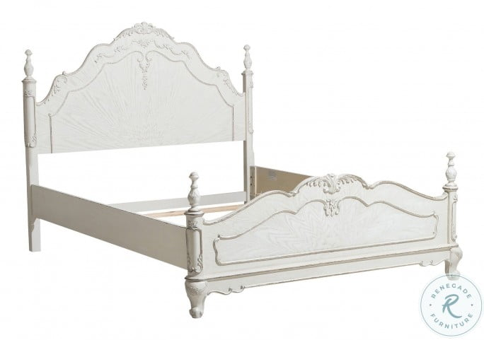Cinderella Antique White With Gray Rub Through Full Poster Bed