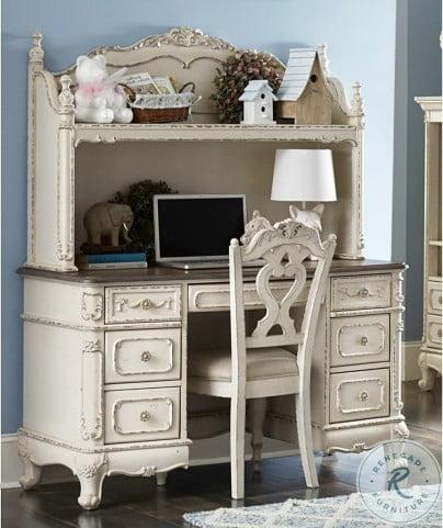 Cinderella Antique White With Grey Home Office Set