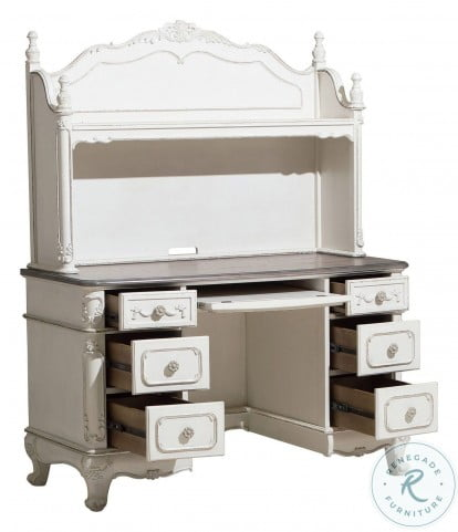 Cinderella Antique White With Grey Writing Desk With Hutch