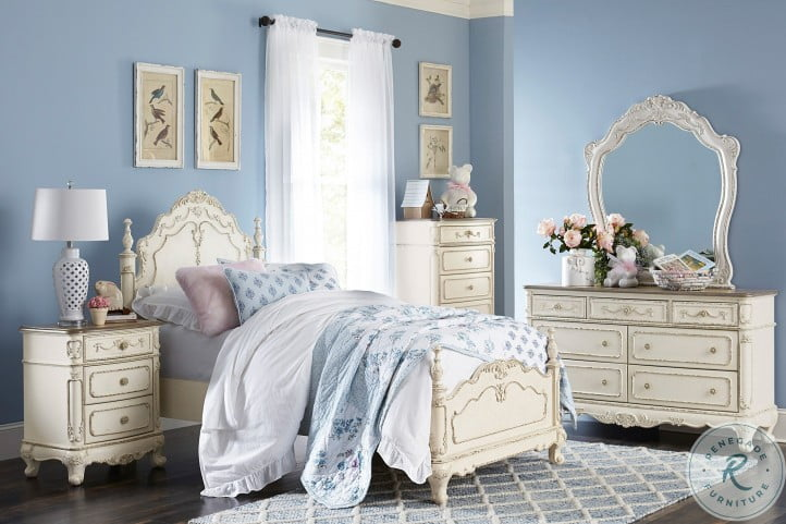 Cinderella Antique White With Gray Rub Through Youth Poster Bedroom Set
