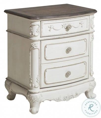 Cinderella Antique White With Grey Nightstand