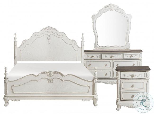 Cinderella Antique White With Grey Poster Bedroom Set
