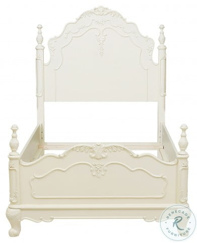 Cinderella Creamy White Twin Poster Bed