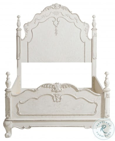 Cinderella Antique White With Gray Rub Through Twin Poster Bed