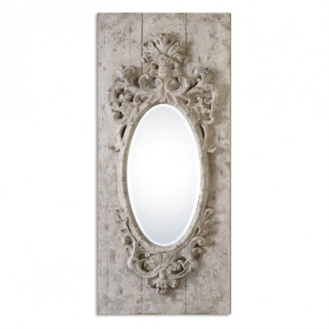 Guardia Gray-Ivory Oval Mirror
