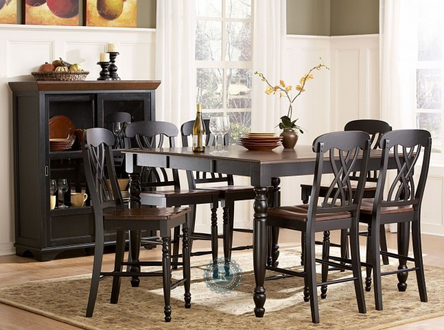 Ohana Black Counter Height Extendable Dining Room Set