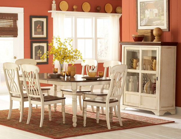 Ohana White Rectangular Dining Room Set