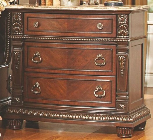 Palace Rich Brown Marble Top Nightstand