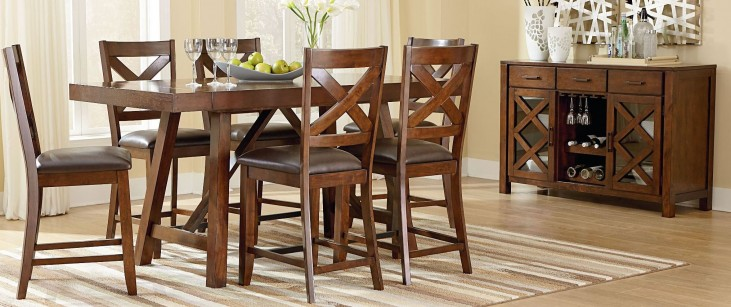 Omaha Burnished Saddle Brown Extendable Counter Height Dining Room Set