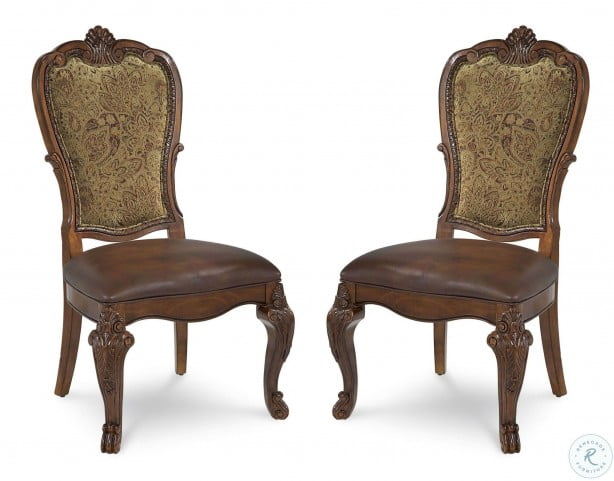 Old World Leather Upholstered Back Side Chair Set of 2