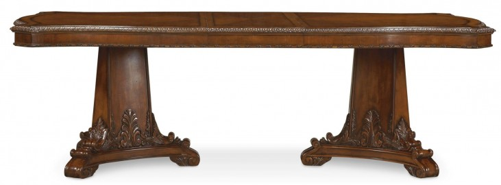 Old World Double Pedestal Extendable Dining Table
