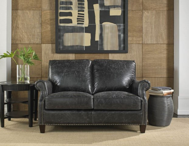 Nathan Charcoal Leather Loveseat