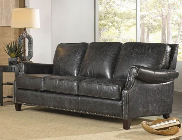 Nathan Charcoal Leather Sofa