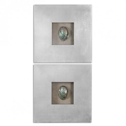 Abalone Shells Silver Wall Art Set of 2
